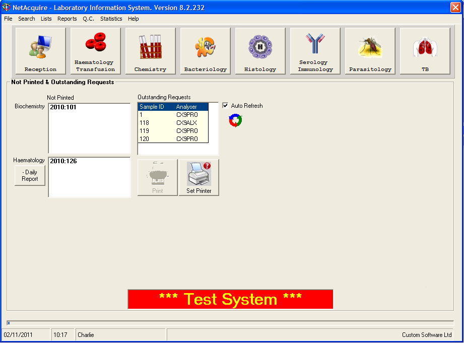 NetAcquire - Main screen