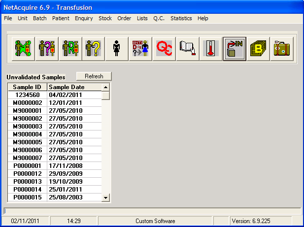 Transfusion - Main screen